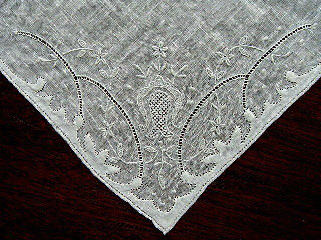 PRISTINE Antique White Linen WEDDING Hanky Whitework Hand Embroidered