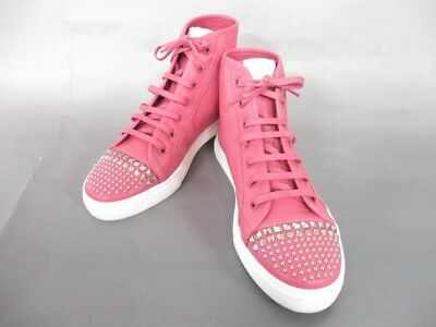 Auth GUCCI Pink Leather Sneakers Women