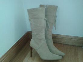 """Ladies beige suede boots size 5 (3 1/2"""" heel)"""