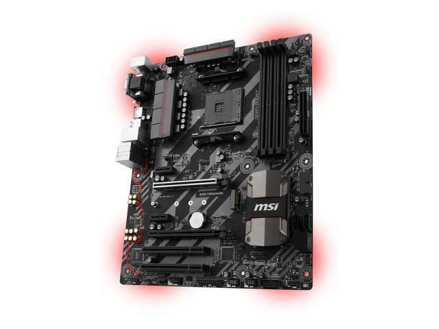 MSI B350 TOMAHAWK (Socket AM4) USB 3.1 Gen 1 AMD Motherboard with LED Lighting B350 TOMAHAWK