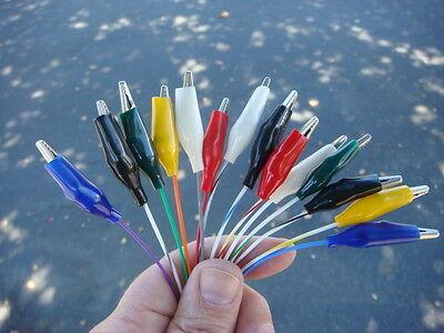 Lot 14 18 Hi-temp Teflon Wire Alligator Clip Test Lead Set - Assorted Colors