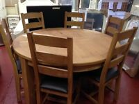 New Salisbury Erne Oak Large Round Dining Table with 6 Chairs Only £849 IN STOCK NOW
