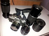 Minolta SRT 201 Camera Kit with 5 lenses!