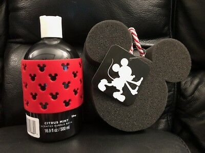 Disney Scented Bubble Bath (Citrus Mint) & MIckey Mouse Foam Sponge New!!! ()