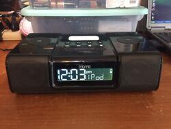 iHome (iH9) ~  Black Ipod Speaker Dock ~ Dual Alarm Clock Radio