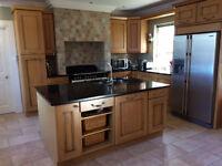 Solid Oak Kitchen with Black Sparkly Granite Worktops for Sale