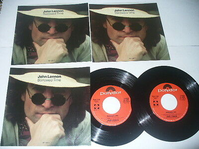 John Lennon Yoko Ono Borrowed Time / Your Hands   #19  3 Picture Sleeves + 2 45s