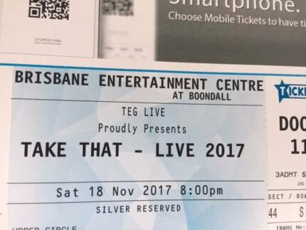 Take That Tickets x2 Brisbane Saturday 18 November