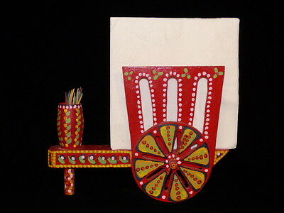 MEXICAN FOLK ART NAPKIN & TOOTHPICK HOLDER RED WOODEN WAGON HAND PAINTED