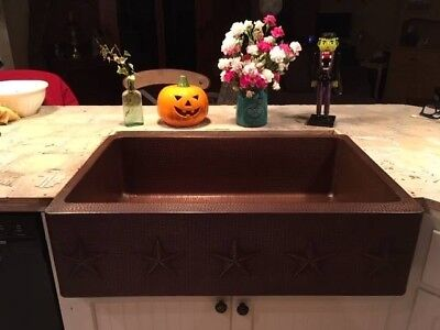 REDUCED PRICE- Hammered Copper 33-inch Star Apron-Front Farm House Kitchen Sink