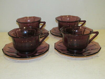 Vintage Set of 4 Amethyst Paneled Cups and Saucers VFC