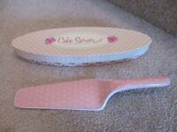 Pretty Pink/White Polka Dot China Cake Server in Box by Boots - unwanted gift
