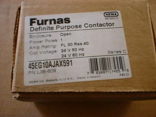 Furnas 45EG10AJAX591 24V Coil Definite Purpose Contactor PN L38-609