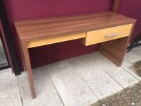 Wide walnut & oak console table with drawer