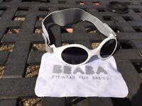 Beaba White Clip Strap Baby Sunglasses (XS - suitable for newborns)