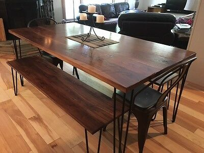 Black Walnut Dining Table Set with Benches Seats 2-4 Guests Dining Tables Bench Seats