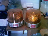 Pair of Vintage Amber Rotating Becon Lights, Large size 12V