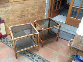 "two rattan bedside/coffee tables, glass shelves .Width 19"" x 18"", height 28"""