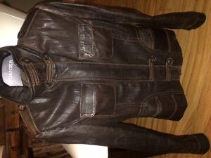 Danier dark brown lined leather jacket
