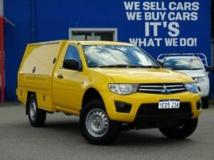 2013 Mitsubishi Triton MN MY13 GLX 4x2 Yellow 4 Speed Sports Automatic Cab Chassis Welshpool Canning Area Preview