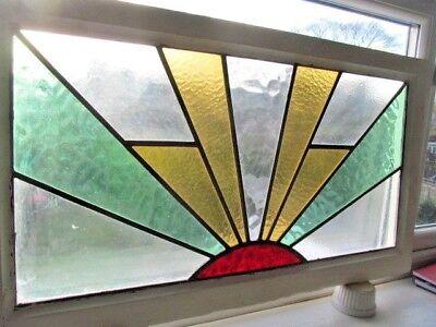 LARGE ORIGINAL 1920s SUNBURST ART DECO  STAINED GLASS WINDOW. VGC    SIDCUP KENT