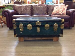 ANTIQUE TRAVEL TRUNK/COFFEE TABLE WITH BARN BOARD BASE!!!