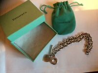 Tiffany and co heart charm toggle necklace