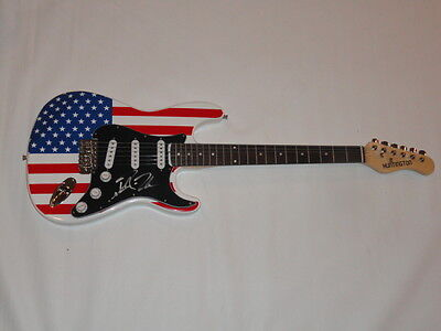 ROBIN ZANDER SIGNED USA FLAG ELECTRIC GUITAR CHEAP TRICK PROOF JSA COA