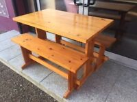 Pine dining table & benches