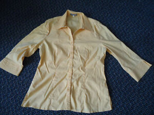 Ladies Size 12 3/4 Sleeve Yellow Button Up Blouse***Steilmann