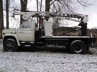 Bucket truck with auger & winch