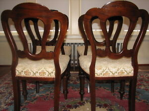 Antique Mahogany Balloon Back Dining Chairs, Carved, Set of 4 Kitchener / Waterloo Kitchener Area image 9