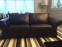 Two x Black Leather Three Seater Sofa