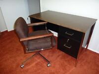 Mid Century Modern Metal Desk and Chair with chrome casters
