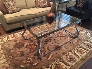 Beautiful Wrought Iron and Bevelled Glass Coffee Table Set