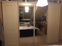 4 Sliding Wardrobe Doors and Track ( 2x Mirror & 2x White )
