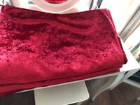 Extra Long Drop - Eyelet Crushed Velvet Lined Curtains - Cranberry
