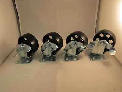 4 3.5 Steel Swivel Wheels Caster Casters With Brake Lock 385 Lb Capacity Each
