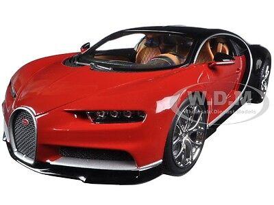 2016 BUGATTI CHIRON RED/ BLACK 1:18 DIECAST MODEL CAR BY BBURAGO 11040