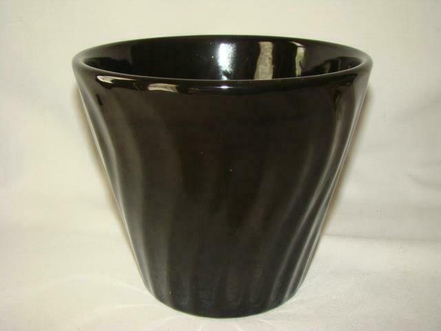 Vintage Pottery Planter Pot, Black Swirl, BAUER or US POTTERY OF PARAMOUNT
