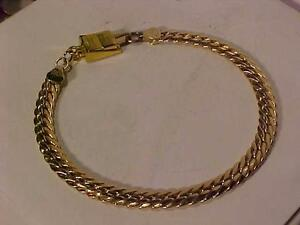 "#3116-MADE IN ITALY 10K WOVEN  YELLOW BRACELET 7"" Fitted WITH A MAGNETIC CLOSURE-VERY SECURE & SIMPLE USE. FREE SHIPPING"
