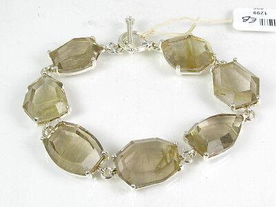 "Pretty Sterling Silver 925 Rutilated Quartz Ladies Bracelet 30.4g 7.75""L eb1299"