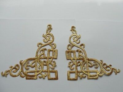 Metallic Scroll (Pair Gold Metallic Scroll Costume Iron On Patches 5.75 Inch Jacket Cuff Accents)