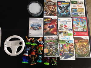 Wii console w/11 games and 11 skylanders