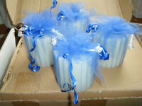 Candles wrapped in blue tulle