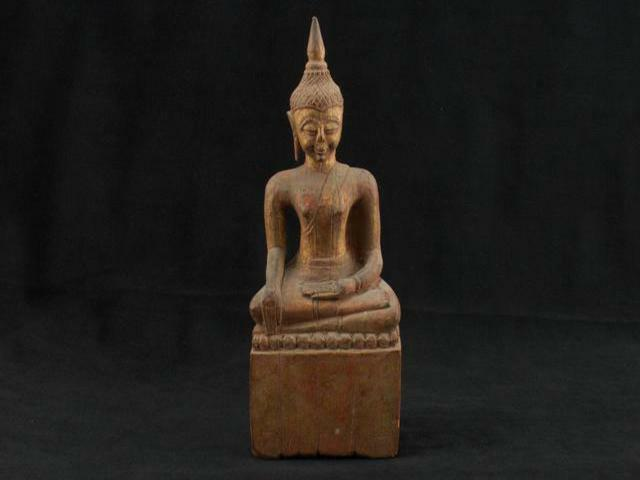 "NobleSpirit NO RESERVE 3970 Marvelous Antique 8"" Sitting Buddha Wood Statue"