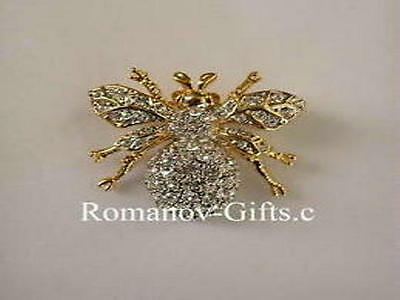 Russian Imperial Empress Marie Bumble Bee Pin Brooch in gold plt with crystals for sale  Highlands
