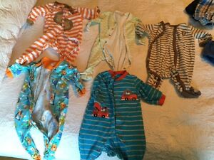 44 pieces of baby boy clothing plus 4 swaddle me's