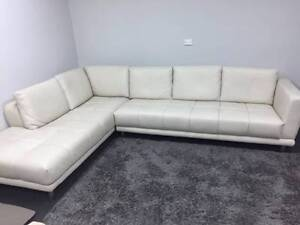 Modern L-Shape Leather Lounge - As New Condition Ryde Ryde Area Preview