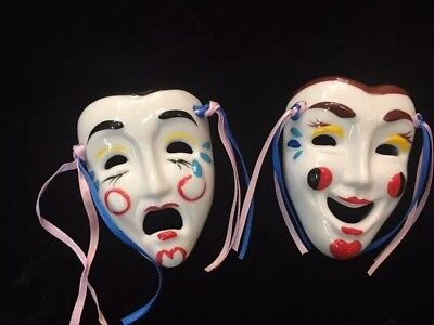 Theatrical Comedy Tragedy Ceramic Mask set Theater Drama small wall decoration](Tragedy Mask)